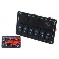 Panou rezistent la apă OFFROAD cu 6 Comutatori Carling Rocker (IP68)