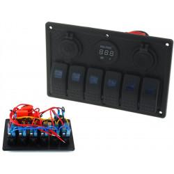 Panou rezistent la apă cu 6 Comutatori Carling Rocker (IP68)