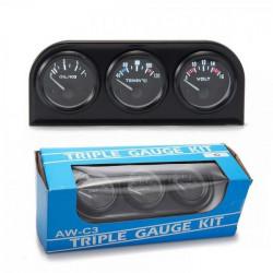 Ceas indicator KET Classic - 3 în 1 de 52mm - Volt+ Temperatură apă+ Presiune ulei