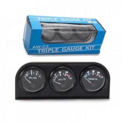 Ceas indicator KET Classic - 3 în 1 de 52mm - Presiune ulei+ Temperatură ulei+ Temperatură apă