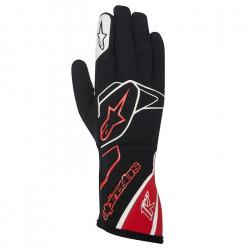 Mănuși Alpinestars Tech 1 K fără omologare FIA - negru-alb-roșu