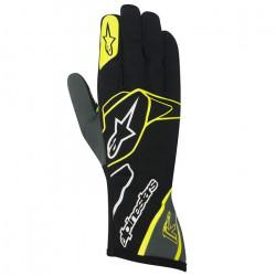 Mănuși Alpinestars Tech 1 K fără omologare FIA - negru-alb-galben