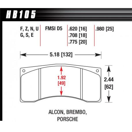 Plăcuțe frână HAWK Performance Plăcuțe frână Hawk HB105W.620, Race, min-max 37°C-650°C   race-shop.ro