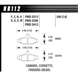 Plăcuțe frână spate Hawk HB112S.540, Street performance, min-max 65°C-370°