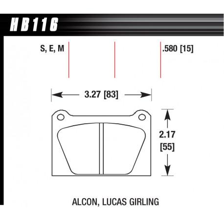 Plăcuțe frână HAWK Performance Plăcuțe frână Hawk HB116S.580, Street performance, min-max 65°C-370°   race-shop.ro