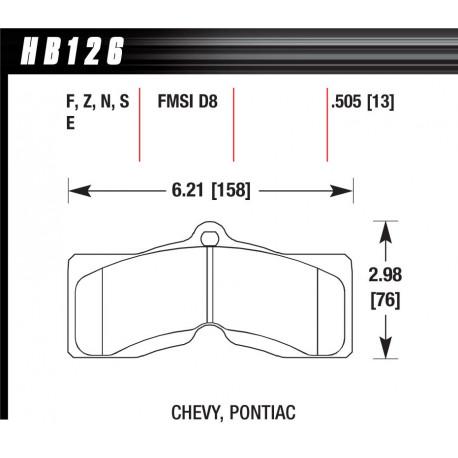 Plăcuțe frână HAWK Performance Plăcuțe frână fată Hawk HB126Z.505, Street performance, min-max 37°C-350°C | race-shop.ro