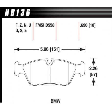 Plăcuțe frână HAWK Performance Plăcuțe frână fată Hawk HB136G.690, Race, min-max 90°C-465°C | race-shop.ro