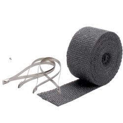 Kit bandă termoizolantă evacuare DEI 5cm x 7,5m- Black + coliere