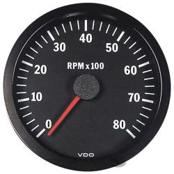 Ceas indicator VDO RPM 100mm - 8000 rot/min - Seria cockpit Vision