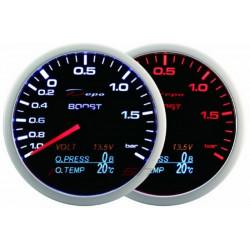 Ceas indicator DEPO Racing 4 în 1 de 60mm Black – presiune turbo + Presiune ulei + Temperatură ulei + Volt