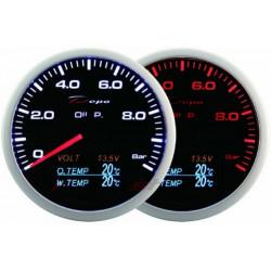 Ceas indicator DEPO Racing 4 în 1 de 60mm Black – Presiune ulei + Temperatură ulei + Temperatură apă + Volt